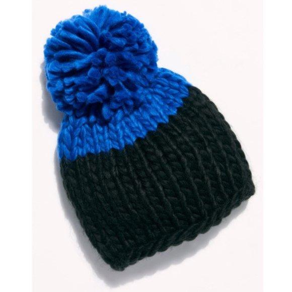 Free People Cozy Up Color Block Pom Beanie, Black/Blue